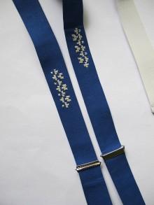 Doplnky - Traky -parížska modrá s kvapkou krížikov - 6437829_