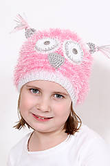 Detské čiapky - Sovička ružová - 6440661_