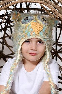 Detské čiapky - Sovička-ušianka - 6440581_
