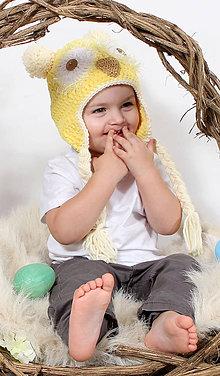 Detské čiapky - žltá sovička - 6440591_
