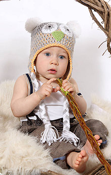 Detské čiapky - Detská čiapka Sovička - ušianka - 6440625_