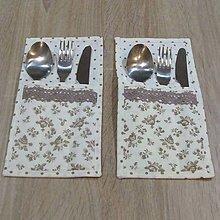 Úžitkový textil - Bielo béžová kuchyňa - obal na príbor 2 - 6440064_