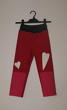 Detské oblečenie - softshellové nohavice Srdiečka - 6442570_