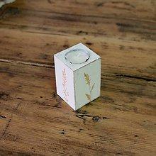 Svietidlá a sviečky - Maľovaný svietnik kvadrát 2 Tráva - 6443225_