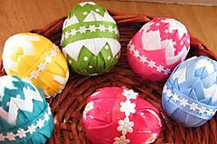 Dekorácie - Veľkonočné vajíčka zdobené patchworkom - 6443291_