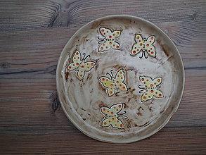 Nádoby - Tanier dezert Motýle 21 cm - 6445237_