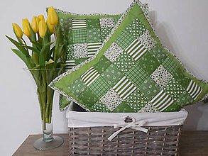 Úžitkový textil - Patchwork vankúš zeleno - biely rôzne veľkosti - 6448306_