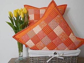 Úžitkový textil - Vankúš  pomarančovo - biely, rôzne veľkosti - 6448340_