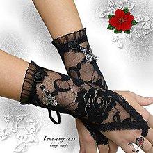 Rukavice - Čipkové rukavičky s bižutériou - 6449103_