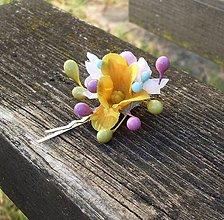 Ozdoby do vlasov - Pestrofarebná kvetinková sponka - 6448546_