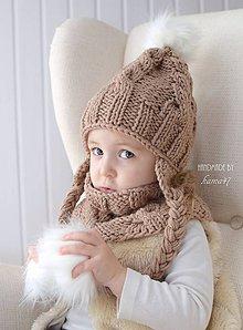 Detské čiapky - Zimný set ... ušianka a nákrčník \