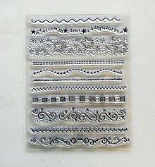 Papier - Silikónové razítka, pečiatky - 14x18 cm -  bordúry, ornamenty - 6453057_