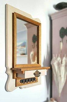 Zrkadlá - Drevené zrkadlo S šuflíkom a vešiakom - 6451912_