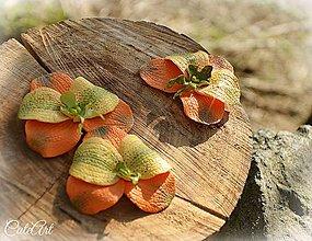 """Dekorácie - Orchidea """"broskyňová vôňa"""" - sada 3 dekoračných kvetov - 6451926_"""