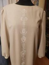 Šaty - štetcom vyšívané - béžové - 6453936_