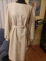 Šaty - štetcom vyšívané - béžové - 6453939_