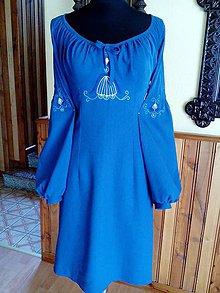 Šaty - modré vyšívané šatky - 6454593_