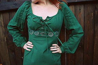 Šaty - šaty s hačkovaným detailom -zelené - 6454620_