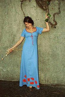 Šaty - modré makovienkové - 6454651_