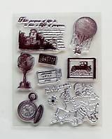 Pomôcky/Nástroje - Silikónové razítka, pečiatky - 14x18 cm - balón, hrad, mapa, známka - 6456211_