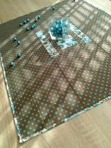 Úžitkový textil - Obrus. .hnedá a tyrkys - 6455684_