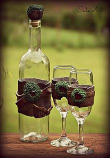 Nádoby - Fľaša na víno so zátkou - dekorovaná - 6454689_