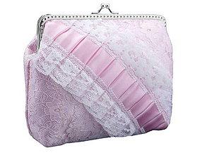 Taštičky - Svadobná čipková kabelka , kabelka pre nevestu růžová 1486 - 6463189_