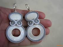 Náušnice - Hoop Collection - perleťové bledé ...soutache - 6461373_