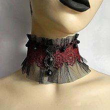 Náhrdelníky - Gotický obojok s bordovou čipkou - 6458667_