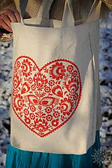 Nákupné tašky - Taška Srdiečko, ručne maľovaná - 6462342_