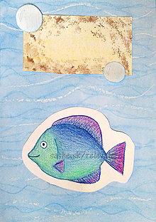 Papiernictvo - Výpredaj - maľovaná a kreslená pohľadnica (Ryba) - 6460586_