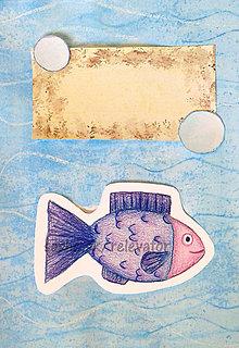 Papiernictvo - Výpredaj - maľovaná a kreslená pohľadnica (Rybka) - 6460606_