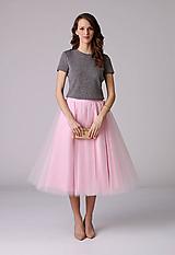 - MIDI tylová sukňa bledo ružová - 6466730_