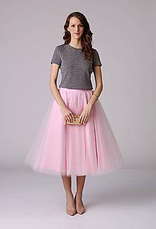 Sukne - MIDI tylová sukňa bledo ružová - 6466730_
