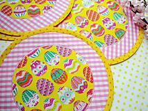 Úžitkový textil - Veľkonočné vajíčka - na žltom podklade - 6465159_