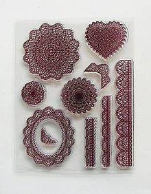 Pomôcky/Nástroje - Silikónové razítka, pečiatky - 14x18 cm - čipka, čipky, krajka, krajky - 6466490_