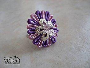 Prstene - -20%   Margaréta - fialovo-ružový sutaškový prsteň - 6464075_