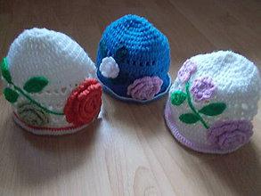 Detské čiapky - Hačkované klobúčiky - 6467751_