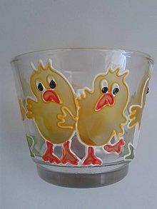 Svietidlá a sviečky - Svietnik na čajovú sviečku - kuriatka - 6464435_