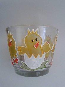 Svietidlá a sviečky - Svietnik na čajovú sviečku - kuriatko v škrupinke - 6464438_