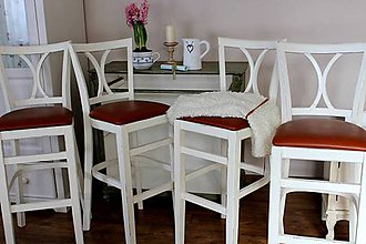 Nábytok - Patinované barové stoličky 4 ks - predané - 6465278_