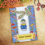 Papiernictvo - Vianočná pohľadnica Cartoon - snehuliačik - 6465694_