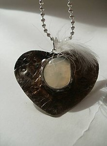 Náhrdelníky - Prívesok srdiečko s jadeitom- tiffany - 6469342_