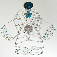 Dekorácie - Veľký anjel na zavesenie - Tyrkenit, modrý achát 39 cm - 6469281_