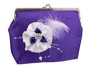 Taštičky - Saténová spoločenská kabelka fialovo biela 11851 - 6473062_