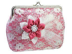 Taštičky - Čipková kabelka růžovo biela  004 - 6473243_