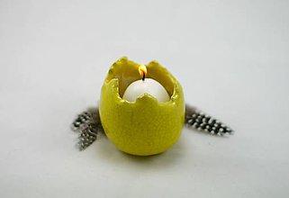 Dekorácie - Keramické vajíčo - váza alebo svietnik -žlté - 6472060_