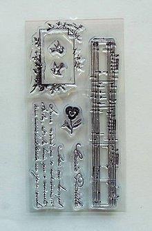 Pomôcky/Nástroje - Silikónové razítka, pečiatky - 7x14 cm - písmo, notový papier, ruža - 6471119_
