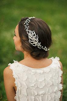 Ozdoby do vlasov - Svadobná čelenka, svadobný venček z korálikov - 6473112_