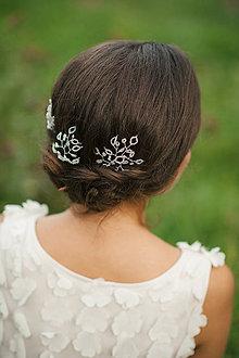 Ozdoby do vlasov - Svadobná ozdoba do vlasov,  svadobné vlásenky do vlasov (Strieborná) - 6473237_